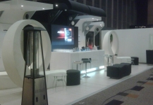 Expo stand with bar and TV monitor