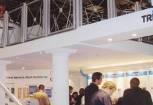Double storey expo stand showing second level with sitting area