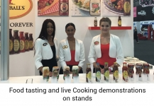 Food tasting and live Cooking demonstrations on stands